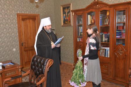 Встреча митрополита Иоанна с директором Областного Дома ребенка для детей с поражениями ЦНС